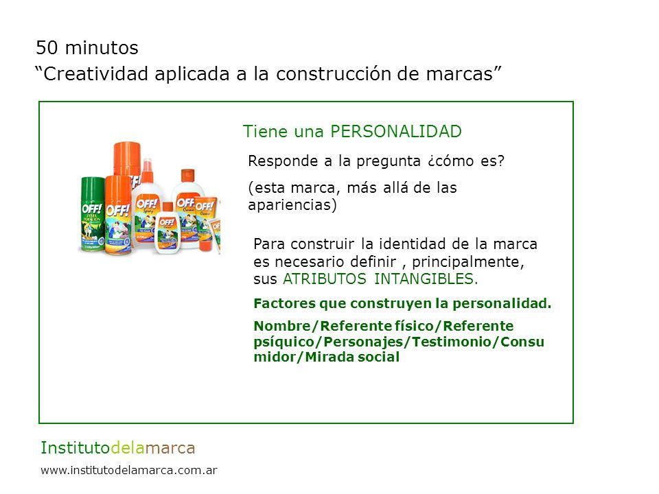 50 minutos Creatividad aplicada a la construcción de marcas Institutodelamarca www.institutodelamarca.com.ar Tiene una PERSONALIDAD Responde a la pregunta ¿cómo es.