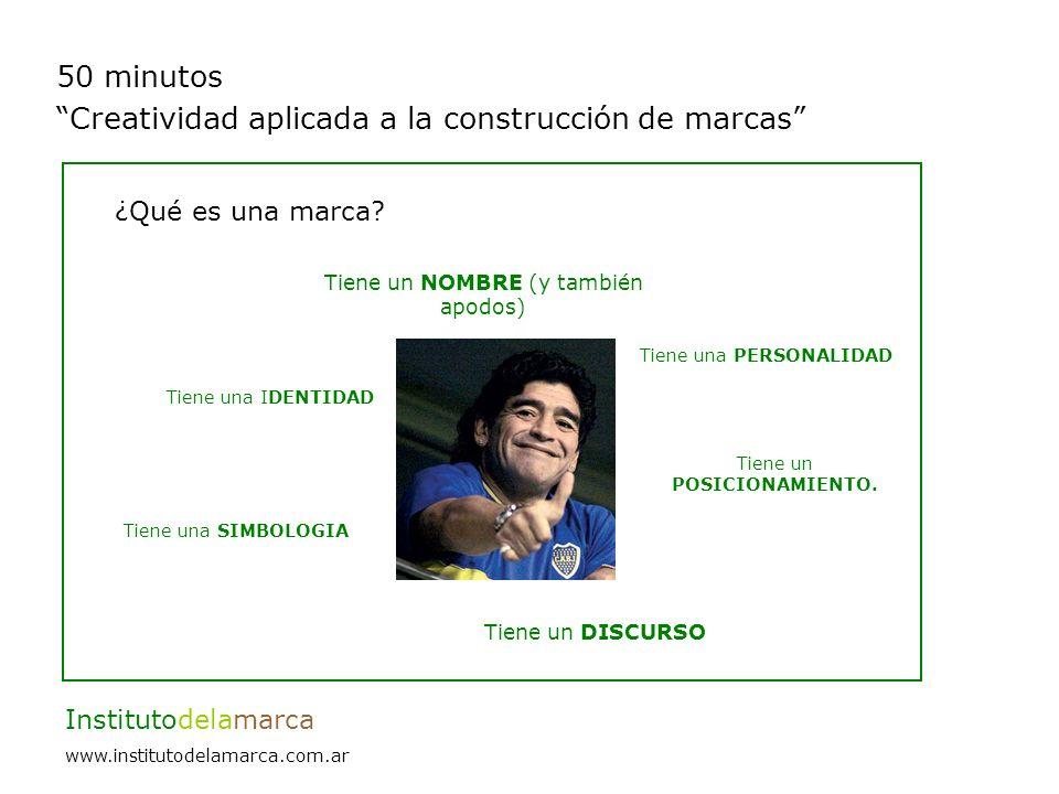 50 minutos Creatividad aplicada a la construcción de marcas Institutodelamarca www.institutodelamarca.com.ar La importancia de tener un buen nombre.