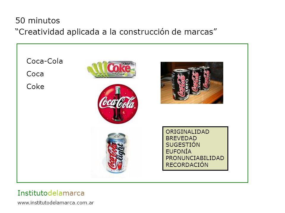 50 minutos Creatividad aplicada a la construcción de marcas Institutodelamarca www.institutodelamarca.com.ar Coca-Cola Coca Coke ORIGINALIDAD BREVEDAD SUGESTIÓN EUFONÍA PRONUNCIABILIDAD RECORDACIÓN