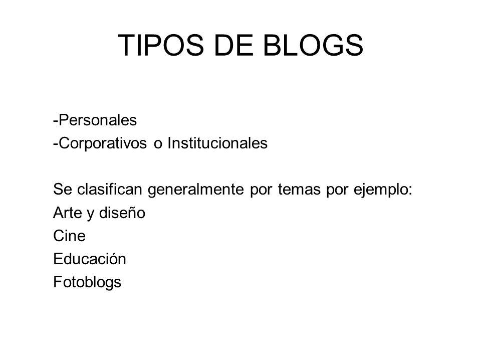 TIPOS DE BLOGS -Personales -Corporativos o Institucionales Se clasifican generalmente por temas por ejemplo: Arte y diseño Cine Educación Fotoblogs