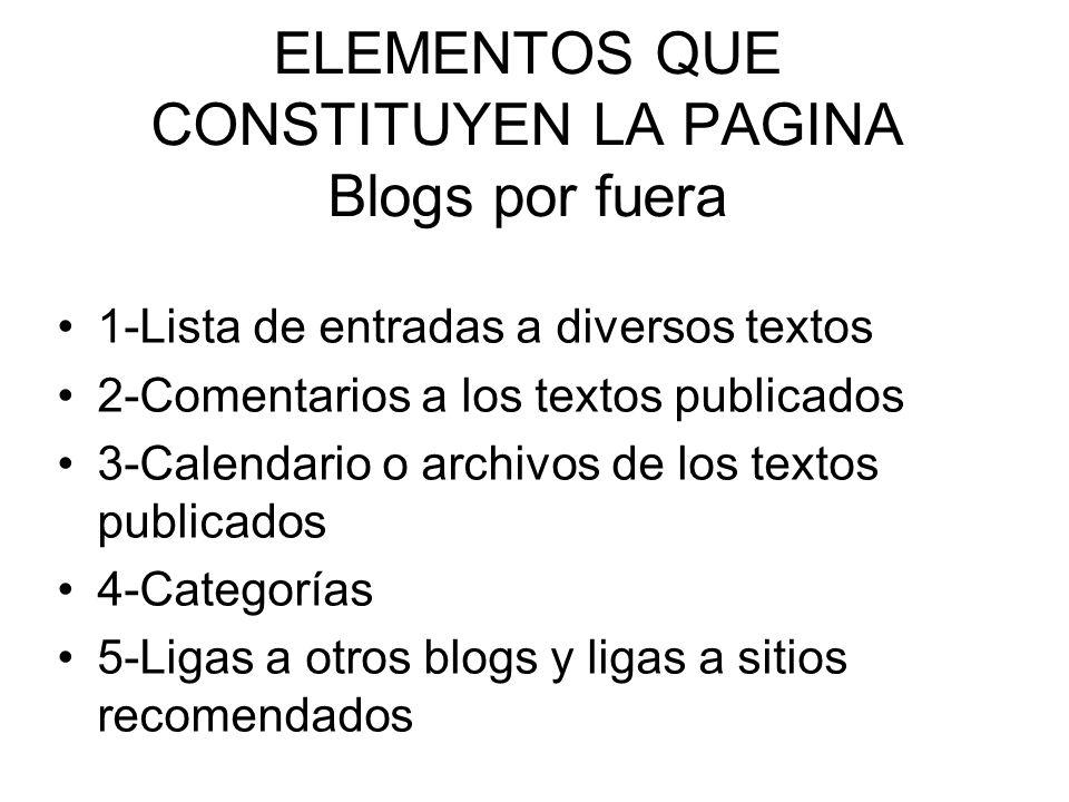 ELEMENTOS QUE CONSTITUYEN LA PAGINA Blogs por fuera 1-Lista de entradas a diversos textos 2-Comentarios a los textos publicados 3-Calendario o archivo