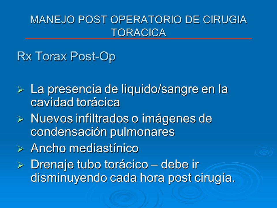 MANEJO POST OPERATORIO DE CIRUGIA TORACICA Rx Torax Post-Op La presencia de liquido/sangre en la cavidad torácica La presencia de liquido/sangre en la