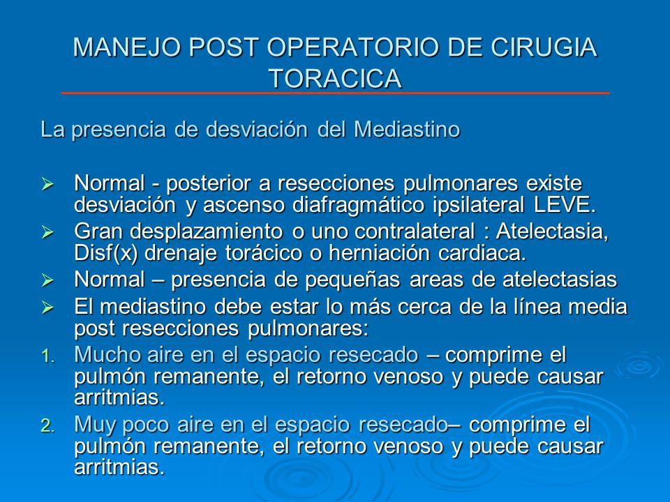MANEJO POST OPERATORIO DE CIRUGIA TORACICA La presencia de desviación del Mediastino Normal - posterior a resecciones pulmonares existe desviación y a