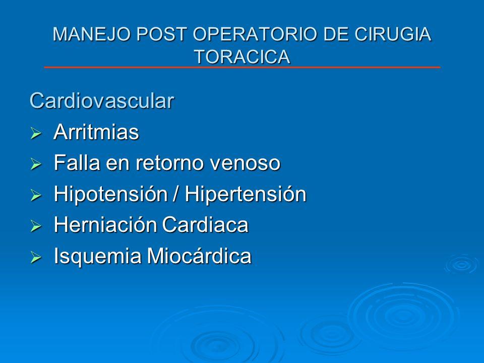 MANEJO POST OPERATORIO DE CIRUGIA TORACICA Cardiovascular Arritmias Arritmias Falla en retorno venoso Falla en retorno venoso Hipotensión / Hipertensi