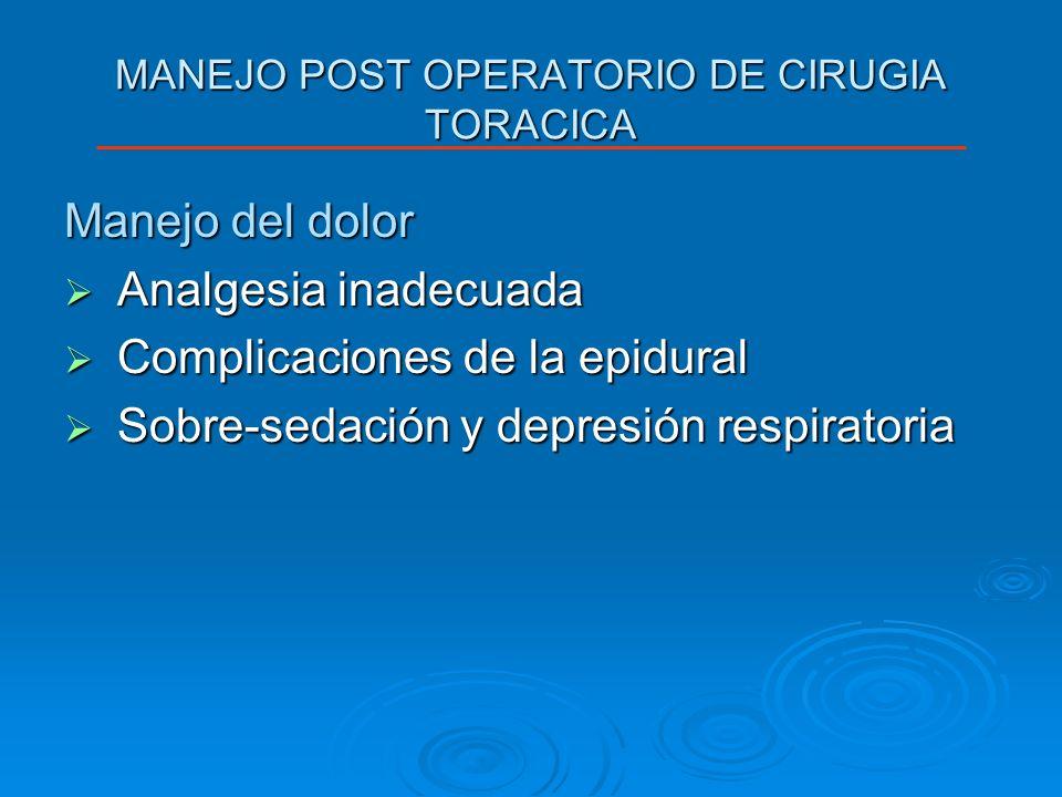 MANEJO POST OPERATORIO DE CIRUGIA TORACICA Manejo del dolor Analgesia inadecuada Analgesia inadecuada Complicaciones de la epidural Complicaciones de