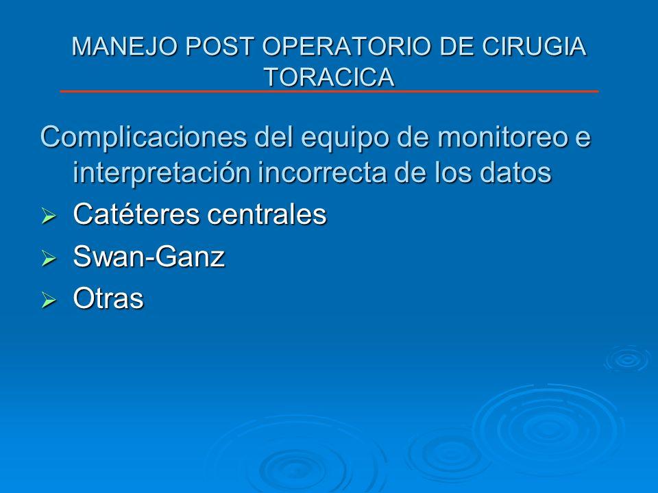 MANEJO POST OPERATORIO DE CIRUGIA TORACICA Complicaciones del equipo de monitoreo e interpretación incorrecta de los datos Catéteres centrales Catéter