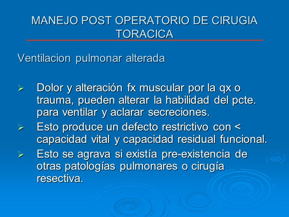 MANEJO POST OPERATORIO DE CIRUGIA TORACICA En la mayoria de los casos post-qx se intentara extubar a los pacientes siempre y cuando exista un buen manejo del dolor para posibilitar la respiración profunda del pcte., la tos y así no < la CRF.
