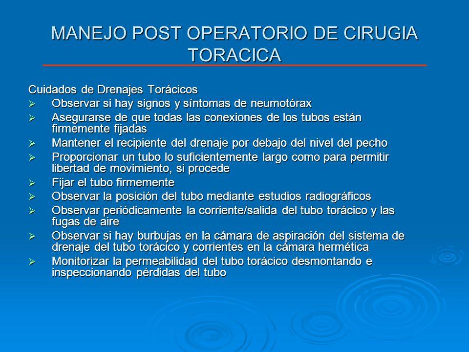 MANEJO POST OPERATORIO DE CIRUGIA TORACICA Cuidados de Drenajes Torácicos Observar si hay signos y síntomas de neumotórax Observar si hay signos y sín