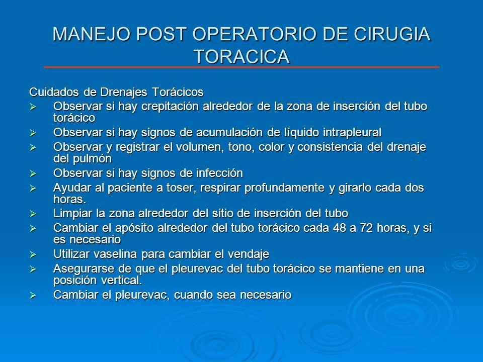 MANEJO POST OPERATORIO DE CIRUGIA TORACICA Cuidados de Drenajes Torácicos Observar si hay crepitación alrededor de la zona de inserción del tubo torác