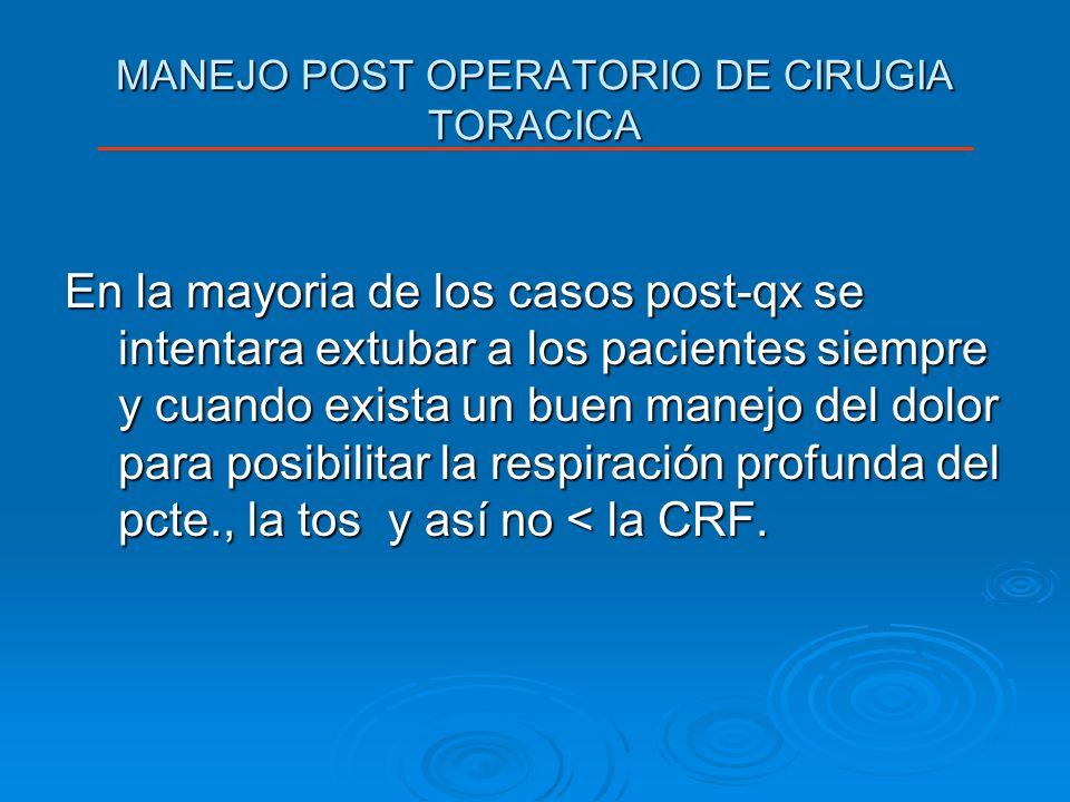 MANEJO POST OPERATORIO DE CIRUGIA TORACICA En la mayoria de los casos post-qx se intentara extubar a los pacientes siempre y cuando exista un buen man