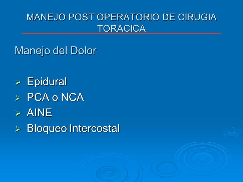 MANEJO POST OPERATORIO DE CIRUGIA TORACICA Manejo del Dolor Epidural Epidural PCA o NCA PCA o NCA AINE AINE Bloqueo Intercostal Bloqueo Intercostal