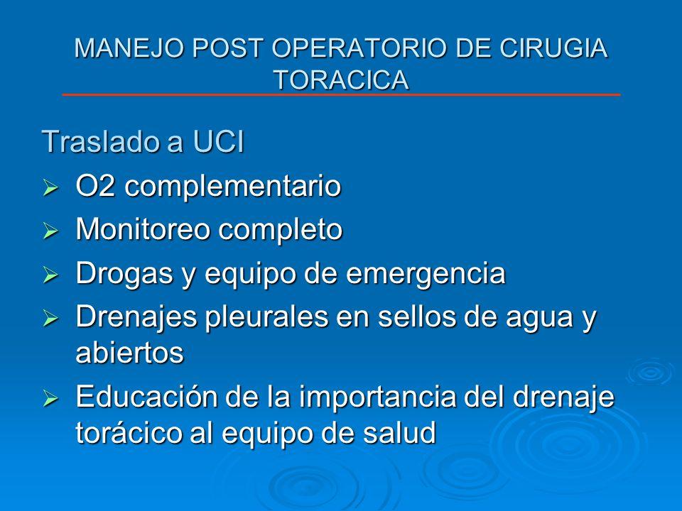MANEJO POST OPERATORIO DE CIRUGIA TORACICA Traslado a UCI O2 complementario O2 complementario Monitoreo completo Monitoreo completo Drogas y equipo de