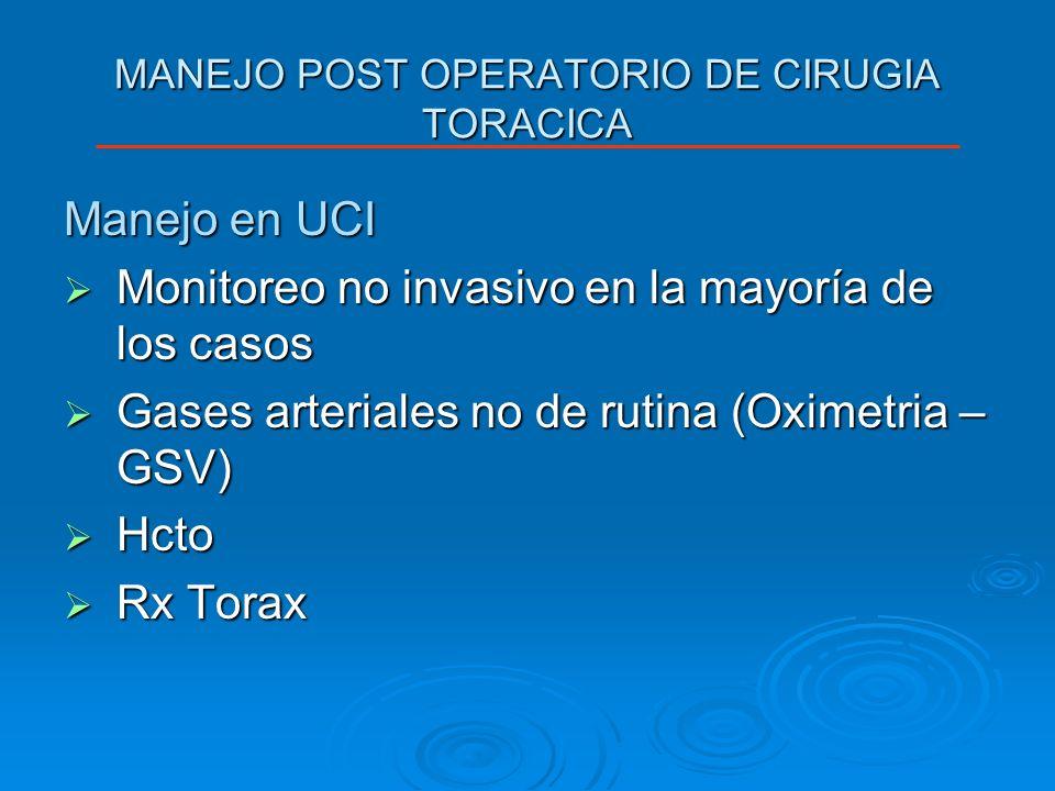 MANEJO POST OPERATORIO DE CIRUGIA TORACICA Manejo en UCI Monitoreo no invasivo en la mayoría de los casos Monitoreo no invasivo en la mayoría de los c