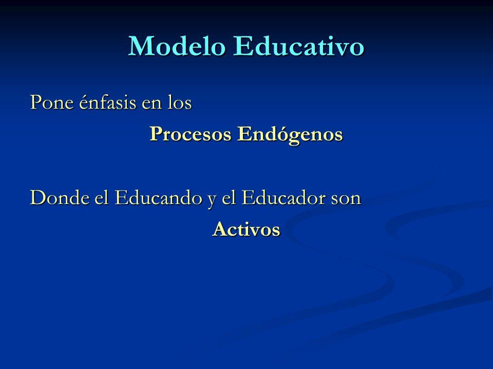 Modelo Educativo Pone énfasis en los Procesos Endógenos Donde el Educando y el Educador son Activos