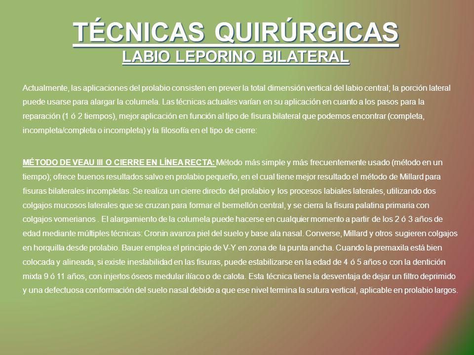 TÉCNICAS QUIRÚRGICAS LABIO LEPORINO BILATERAL Actualmente, las aplicaciones del prolabio consisten en prever la total dimensión vertical del labio cen