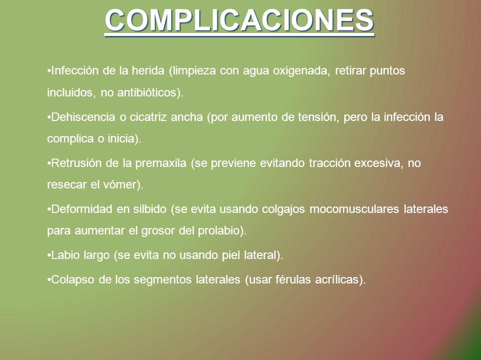 COMPLICACIONES Infección de la herida (limpieza con agua oxigenada, retirar puntos incluidos, no antibióticos). Dehiscencia o cicatriz ancha (por aume
