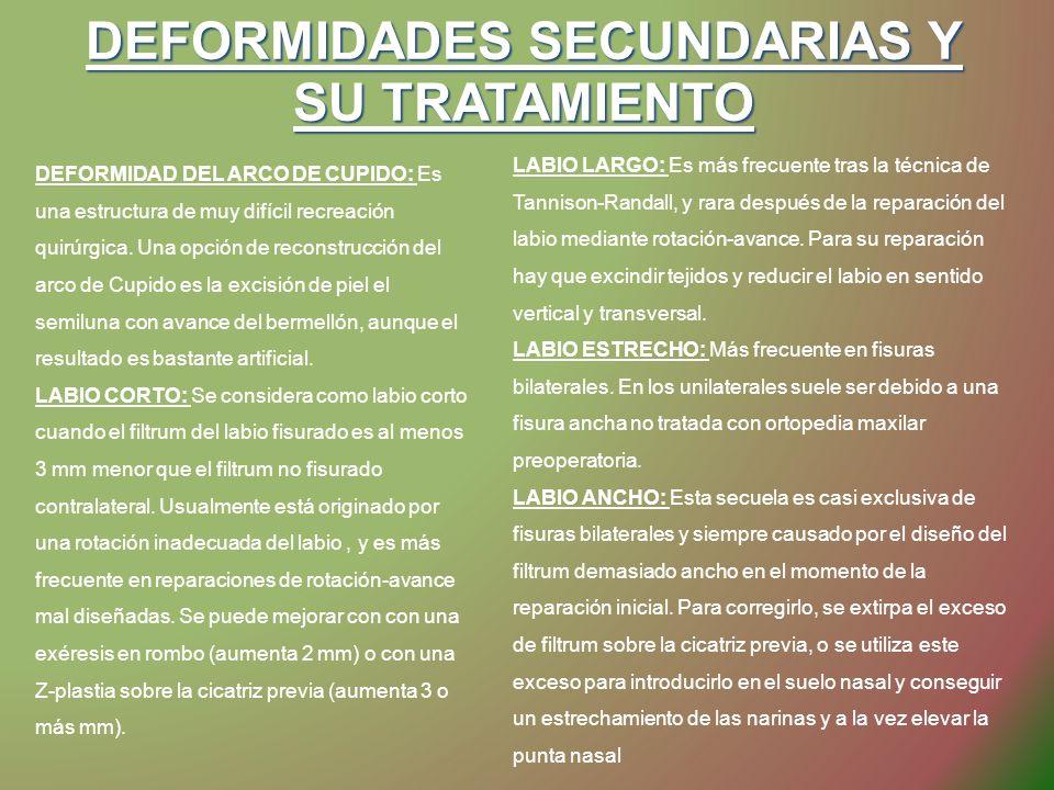 DEFORMIDADES SECUNDARIAS Y SU TRATAMIENTO DEFORMIDAD DEL ARCO DE CUPIDO: Es una estructura de muy difícil recreación quirúrgica. Una opción de reconst
