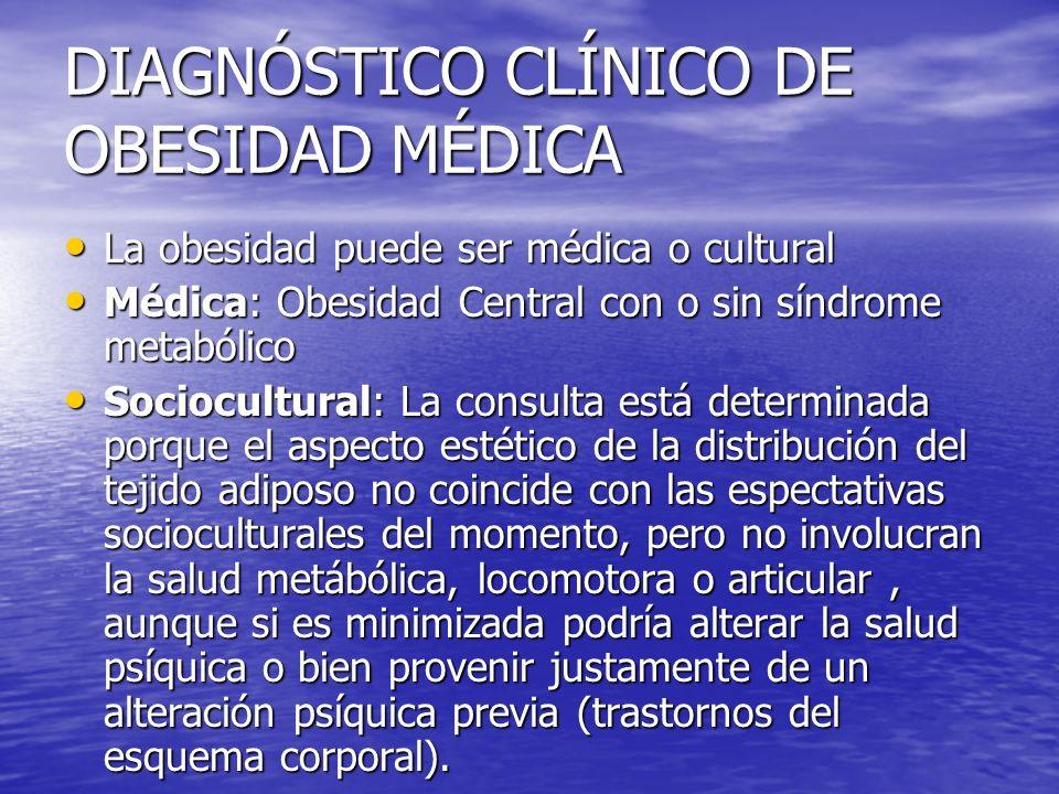DIAGNÓSTICO CLÍNICO DE OBESIDAD MÉDICA La obesidad puede ser médica o cultural La obesidad puede ser médica o cultural Médica: Obesidad Central con o