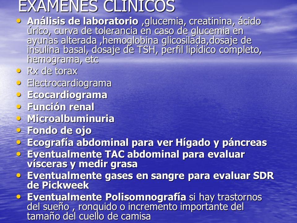 EXÁMENES CLINICOS Análisis de laboratorio,glucemia, creatinina, ácido úrico, curva de tolerancia en caso de glucemia en ayunas alterada,hemoglobina gl
