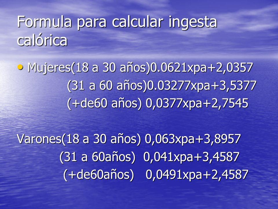 Formula para calcular ingesta calórica Mujeres(18 a 30 años)0.0621xpa+2,0357 Mujeres(18 a 30 años)0.0621xpa+2,0357 (31 a 60 años)0.03277xpa+3,5377 (31