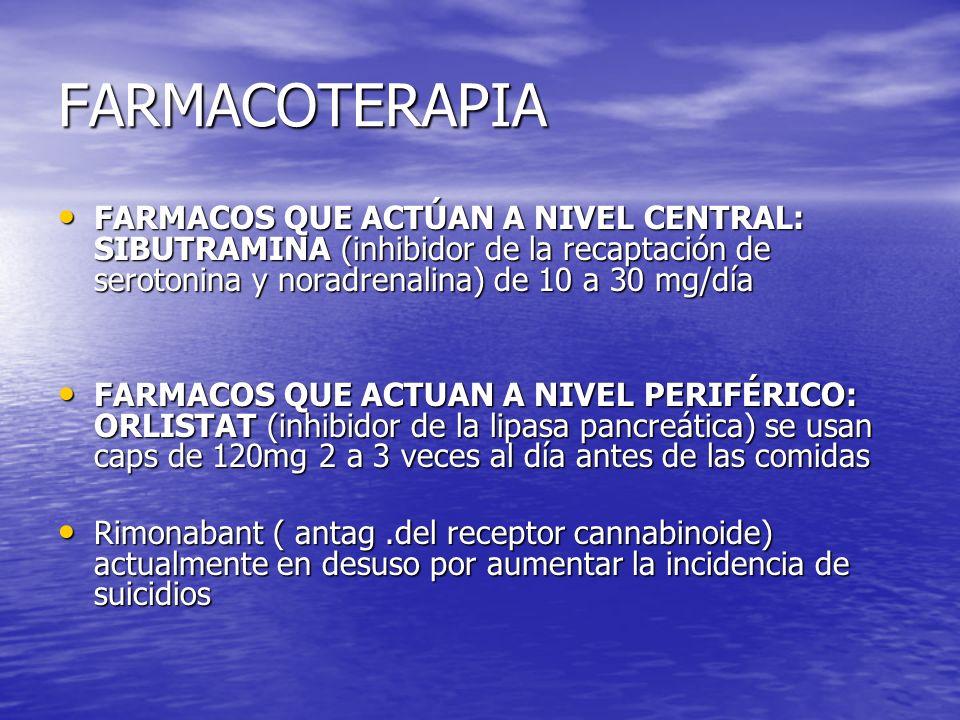 FARMACOTERAPIA FARMACOS QUE ACTÚAN A NIVEL CENTRAL: SIBUTRAMINA (inhibidor de la recaptación de serotonina y noradrenalina) de 10 a 30 mg/día FARMACOS