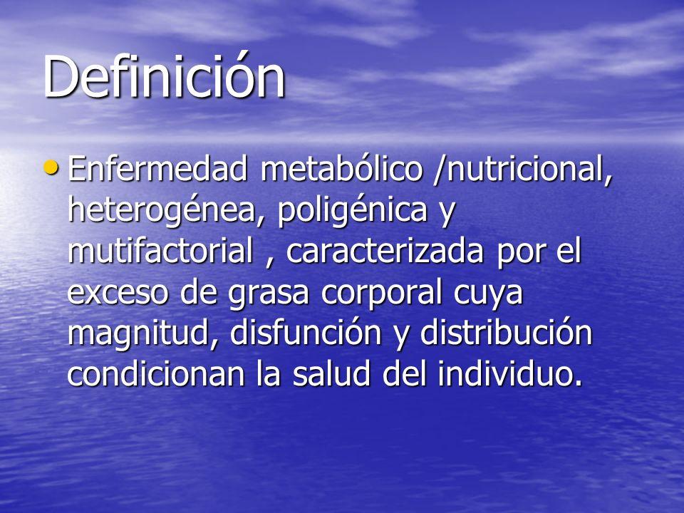 Definición Enfermedad metabólico /nutricional, heterogénea, poligénica y mutifactorial, caracterizada por el exceso de grasa corporal cuya magnitud, d