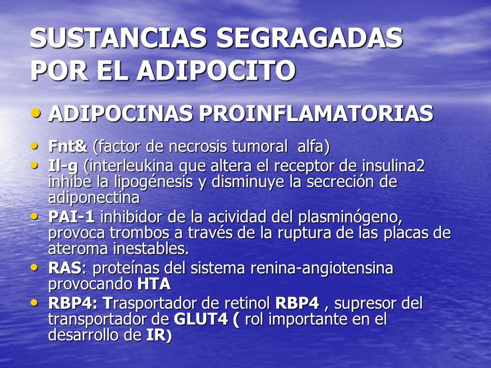 SUSTANCIAS SEGRAGADAS POR EL ADIPOCITO ADIPOCINAS PROINFLAMATORIAS ADIPOCINAS PROINFLAMATORIAS Fnt& (factor de necrosis tumoral alfa) Fnt& (factor de
