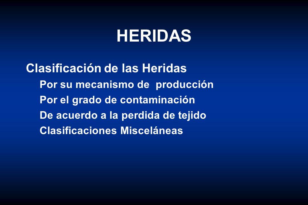 HERIDAS Clasificación de las Heridas Por su mecanismo de producción Por el grado de contaminación De acuerdo a la perdida de tejido Clasificaciones Mi