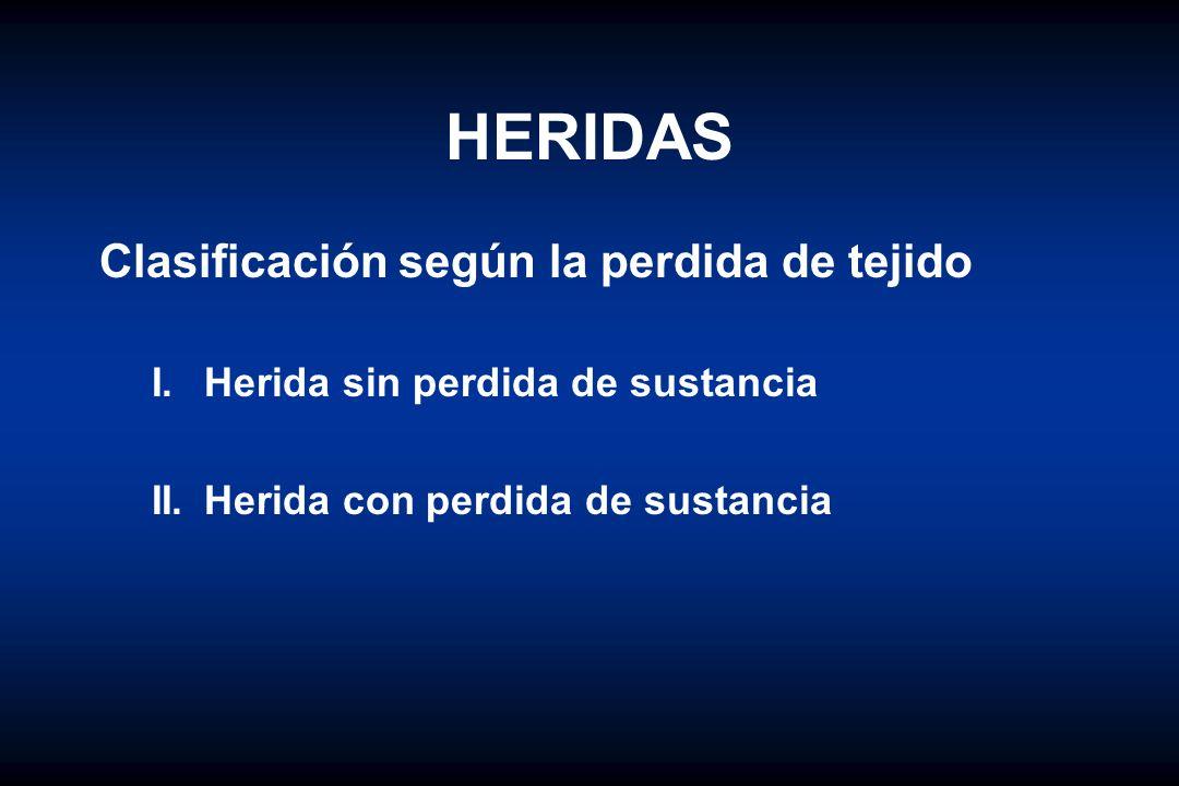 HERIDAS Clasificación según la perdida de tejido I.Herida sin perdida de sustancia II.Herida con perdida de sustancia