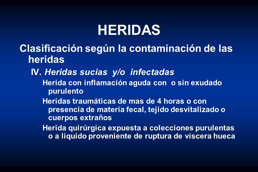 HERIDAS Clasificación según la contaminación de las heridas IV. Heridas sucias y/o infectadas Herida con inflamación aguda con o sin exudado purulento