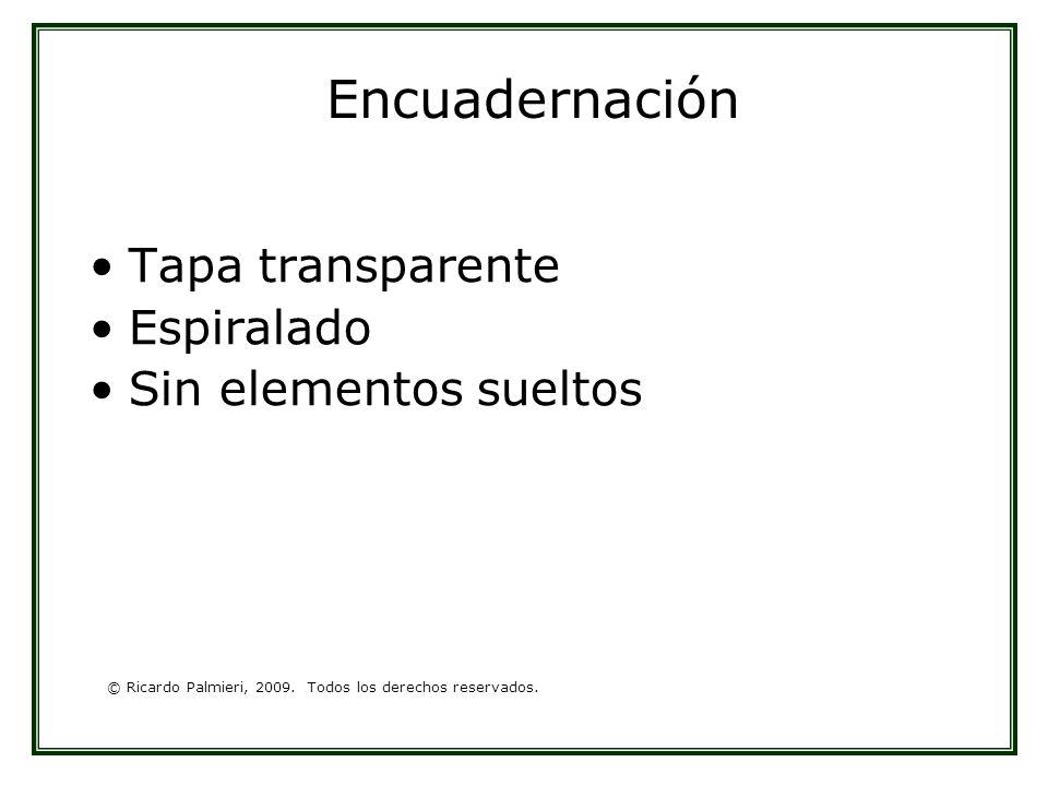 © Ricardo Palmieri, 2009. Todos los derechos reservados. Encuadernación Tapa transparente Espiralado Sin elementos sueltos
