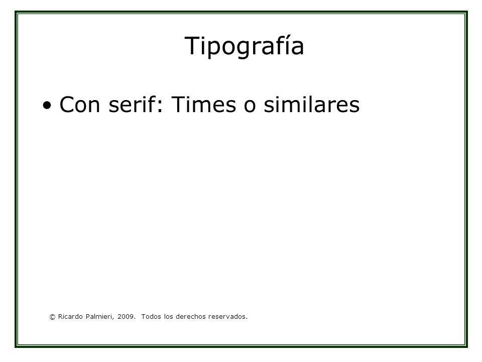 © Ricardo Palmieri, 2009. Todos los derechos reservados. Tipografía Con serif: Times o similares