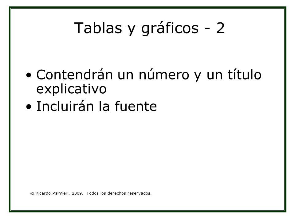 © Ricardo Palmieri, 2009. Todos los derechos reservados. Tablas y gráficos - 2 Contendrán un número y un título explicativo Incluirán la fuente