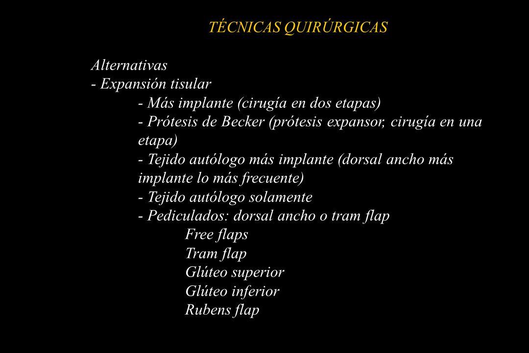 TÉCNICAS QUIRÚRGICAS Alternativas - Expansión tisular - Más implante (cirugía en dos etapas) - Prótesis de Becker (prótesis expansor, cirugía en una e