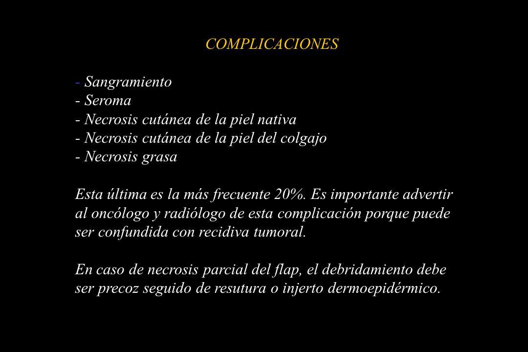 COMPLICACIONES - Sangramiento - Seroma - Necrosis cutánea de la piel nativa - Necrosis cutánea de la piel del colgajo - Necrosis grasa Esta última es