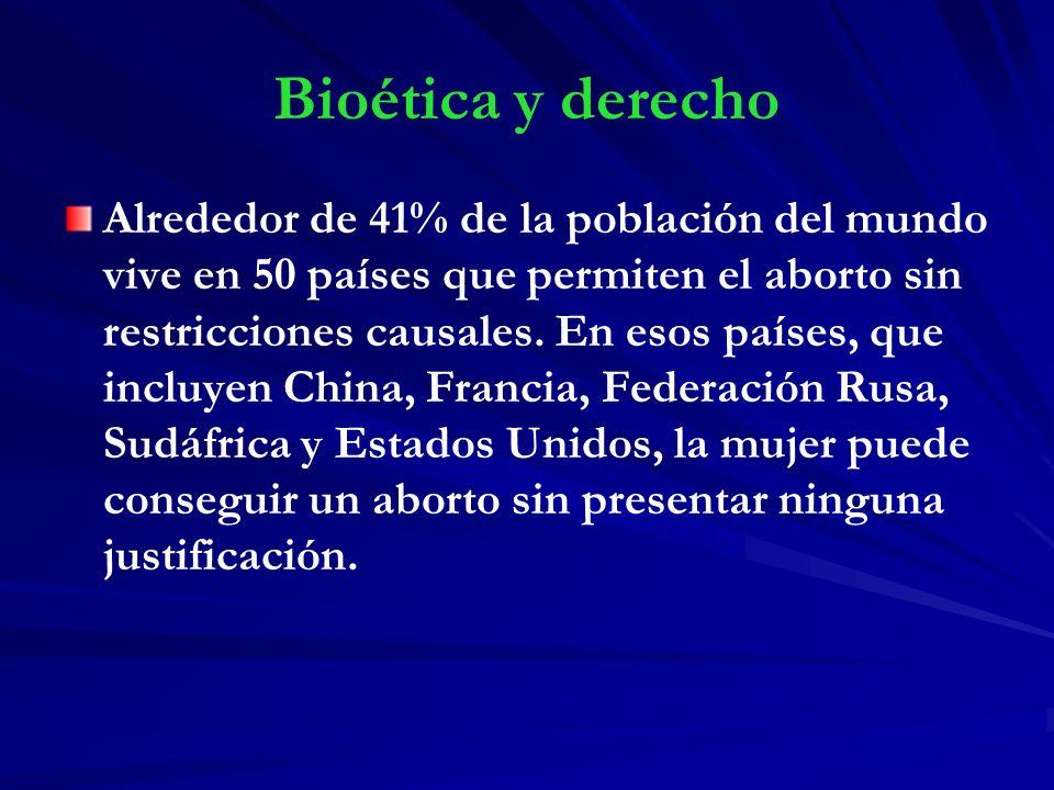 Bioética y derecho Alrededor de 41% de la población del mundo vive en 50 países que permiten el aborto sin restricciones causales. En esos países, que