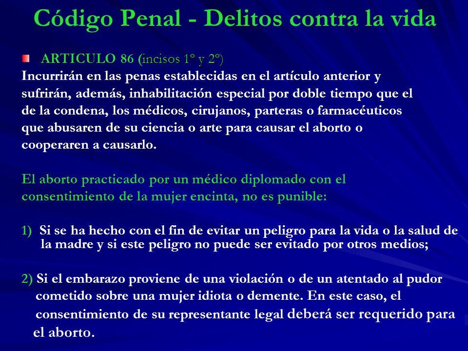 Código Penal - Delitos contra la vida incisos 1º y 2º) ARTICULO 86 (incisos 1º y 2º) Incurrirán en las penas establecidas en el artículo anterior y su