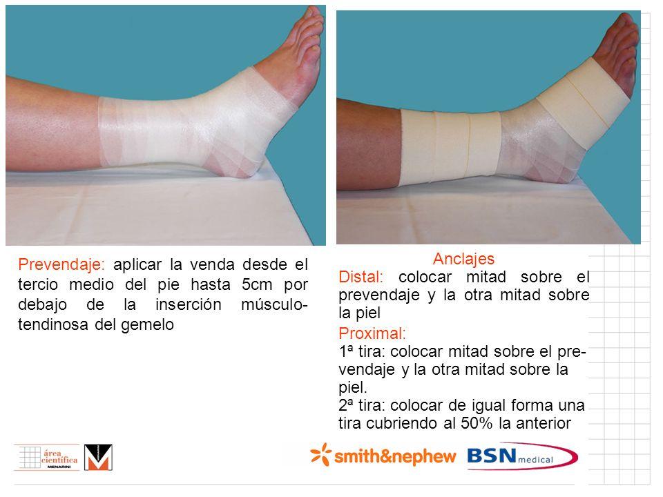 Índice (I) Prevendaje: aplicar la venda desde el tercio medio del pie hasta 5cm por debajo de la inserción músculo- tendinosa del gemelo Anclajes Dist