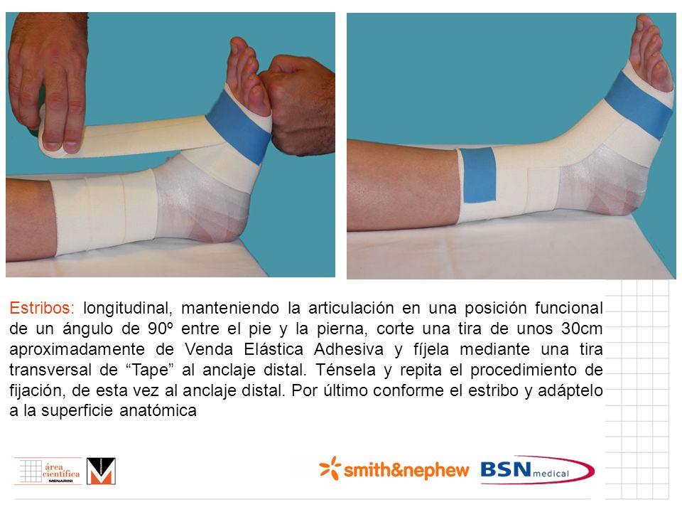 Índice (I) Estribos: longitudinal, manteniendo la articulación en una posición funcional de un ángulo de 90º entre el pie y la pierna, corte una tira