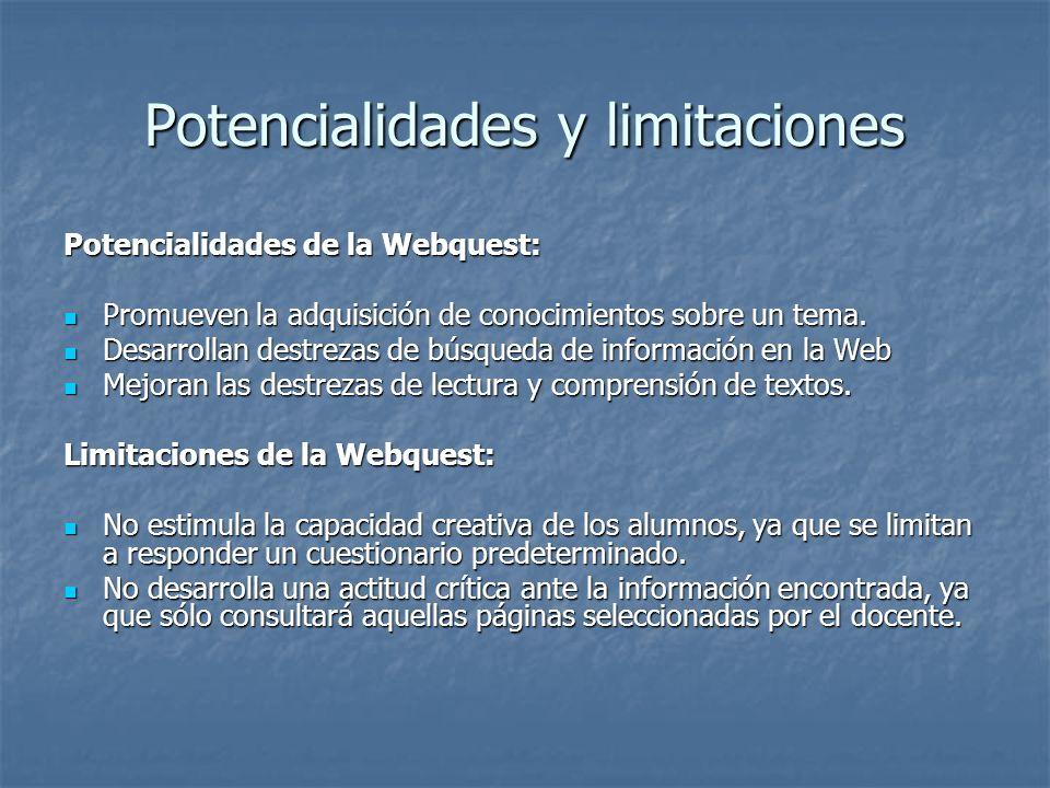 Partes esenciales de una webquest INTRODUCCION: provee información básica y orienta sobre los contenidos de la actividad. INTRODUCCION: provee informa
