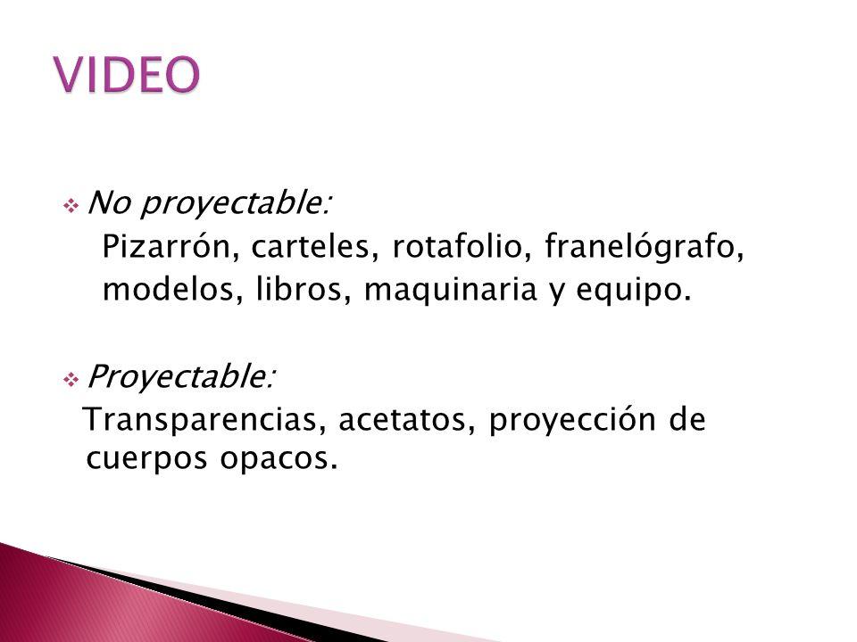No proyectable: Pizarrón, carteles, rotafolio, franelógrafo, modelos, libros, maquinaria y equipo. Proyectable: Transparencias, acetatos, proyección d