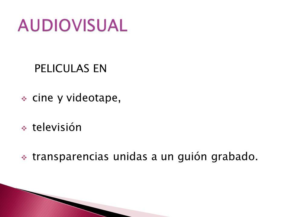 PELICULAS EN cine y videotape, televisión transparencias unidas a un guión grabado.