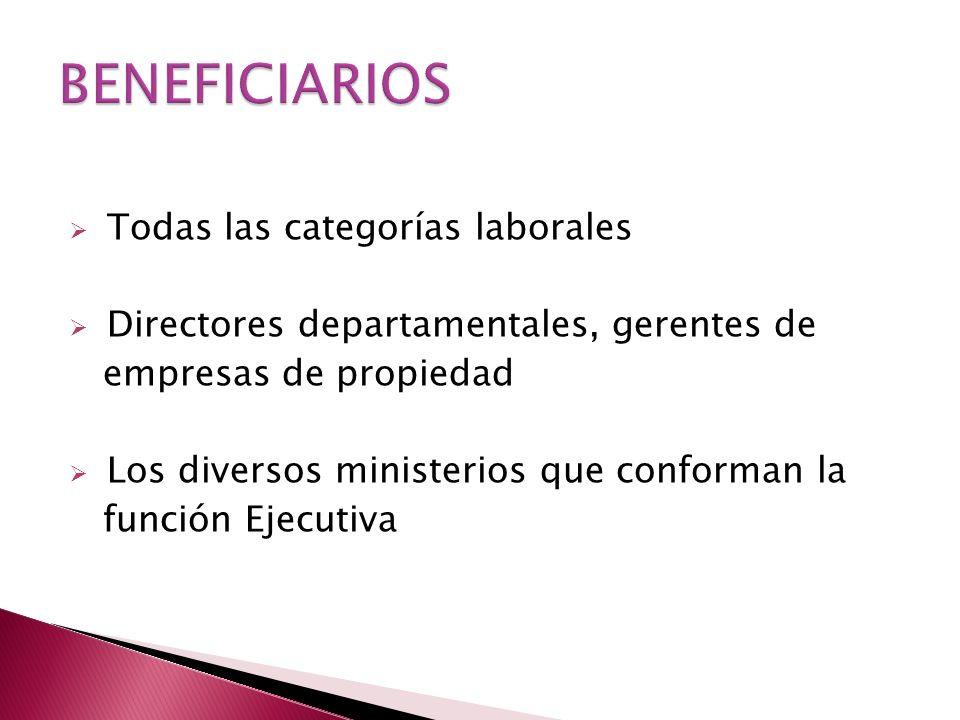 Todas las categorías laborales Directores departamentales, gerentes de empresas de propiedad Los diversos ministerios que conforman la función Ejecutiva