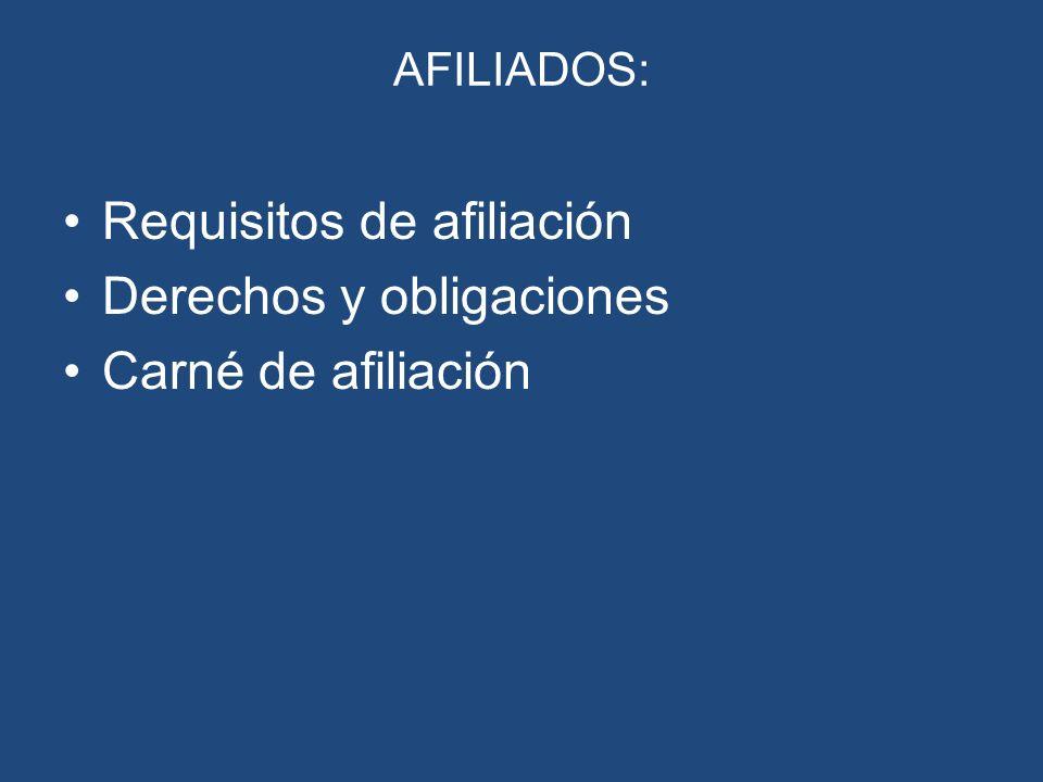AFILIADOS: Requisitos de afiliación Derechos y obligaciones Carné de afiliación