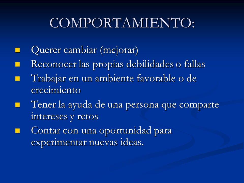 COMPORTAMIENTO: Querer cambiar (mejorar) Querer cambiar (mejorar) Reconocer las propias debilidades o fallas Reconocer las propias debilidades o falla