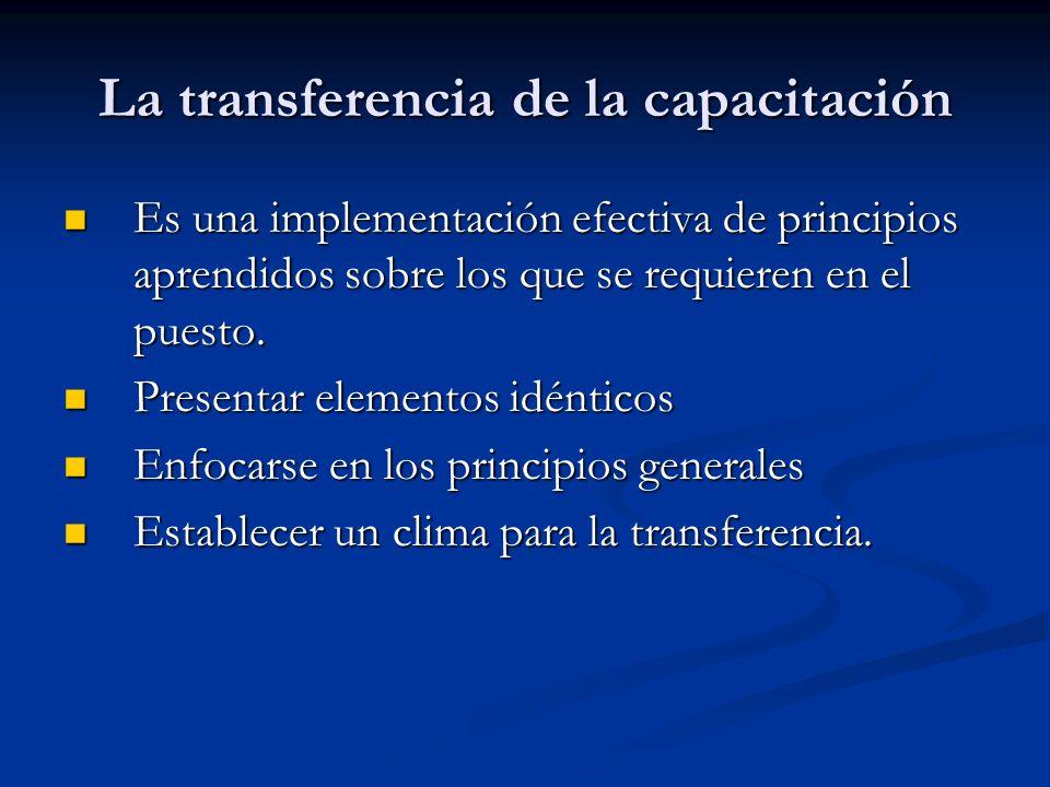 La transferencia de la capacitación Es una implementación efectiva de principios aprendidos sobre los que se requieren en el puesto. Es una implementa
