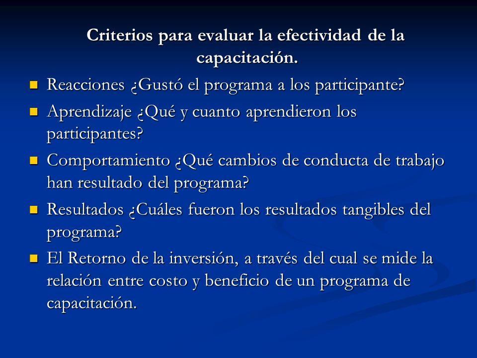 Criterios para evaluar la efectividad de la capacitación. Criterios para evaluar la efectividad de la capacitación. Reacciones ¿Gustó el programa a lo