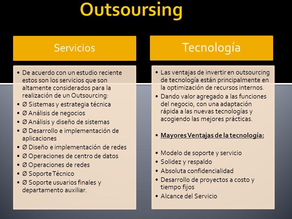 Servicios De acuerdo con un estudio reciente estos son los servicios que son altamente considerados para la realización de un Outsourcing: Ø Sistemas