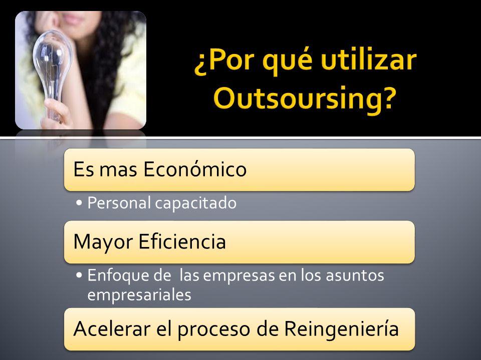 Es mas Económico Personal capacitado Mayor Eficiencia Enfoque de las empresas en los asuntos empresariales Acelerar el proceso de Reingeniería