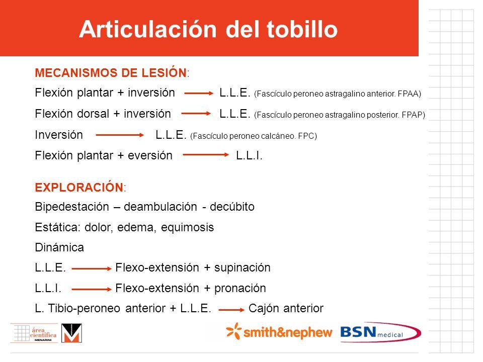 Articulación del tobillo MECANISMOS DE LESIÓN: Flexión plantar + inversión L.L.E. (Fascículo peroneo astragalino anterior. FPAA) Flexión dorsal + inve